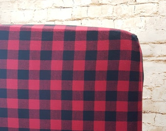 Cotton Flannel Fitted Crib Sheet Toddler Sheet Red and Black Buffalo Plaid- Buffalo Plaid Baby- Buffalo Plaid Nursery- Lumberjack Nursery