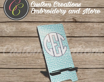 Monogrammed Cell Phone Stand- Mint Greek Key Other Colors Availible