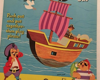 Pirate Book, Punch Out Book, Whitman Publishing, New Old Stock, 1960's,