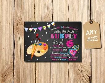 ART PARTY INVITATION, Art Birthday Party Invitation, Art Birthday Invitation, Printable Art party invitation, Paints, Brush, Chalkboard