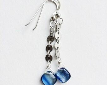 Sterling Silver, Silver Earrings, Blue Earrings, Gemstone Jewelry, Gift for Her