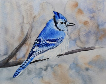 Blue jay. ORIGINAL watercolor painting of bird