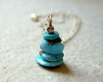 Kingman Turquoise and Aqua Sea Glass Cairn Necklace - American Turquoise Pendant with Sterling Silver Chain