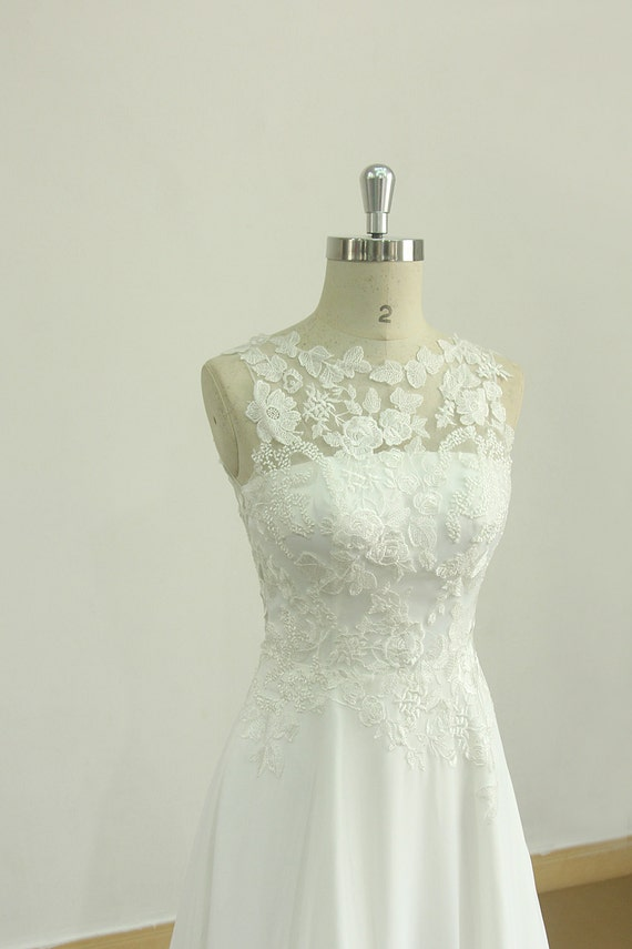 Romantic Ivory chiffon lace casual wedding dress with illusion