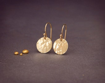 "Solid 14K Gold Earrings | Hammered Solid 14K Gold Disc Earrings 3/16"" 1/4"" 5/16"" 3/8"" 7/16"""