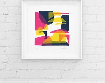 Limited Edition Screenprint, Handmade Print, Contemporary 3 Colour Screenprint