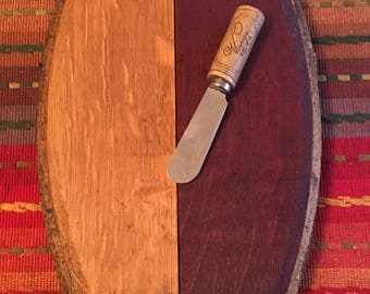 French Wine Barrel Lid Cheese Board With Wine Cork Spreader