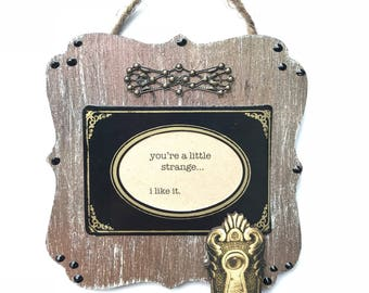 Small Wooden Plaque, Oddity Art, Unique Gift, Strange, Your Strange, Mixed Media, Tiny Art