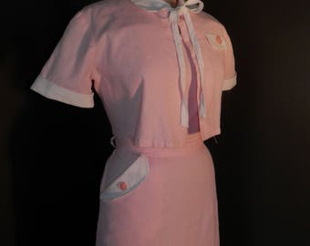 FREE SHIP 1940s Valentine Candy Pink Sundress Bolero Set MINT Outfit Dress Cropped Jacket wwii