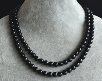 black necklace, AAA 16.5-18 inches 8mm 2 row black agate necklace, black bead necklace, lady necklace,wedding necklace,statement necklace