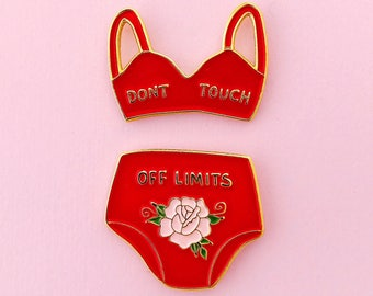 Ww2 lingerie red enamel pin set