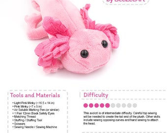 Axolotl Stuffed Animal Sewing Pattern, Plush Toy Pattern, PDF Tutorial