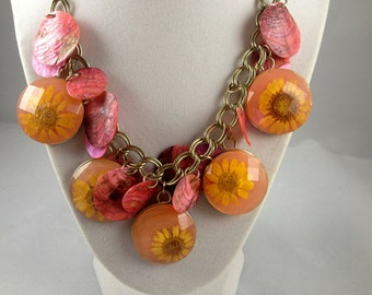 Summer Daisies Statement Necklace  Flower Jewelry  Daisey  Flower Chunky Necklace