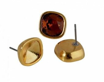 1 pair of earrings / Swarovski 4470 Support - in Metal Zamak - gold - BOCAB17OR0553