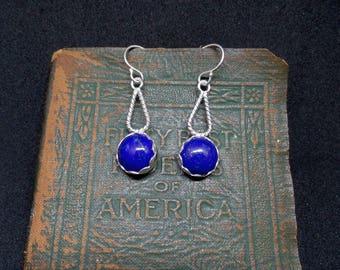 Lapis Lazuli Earrings, Sterling Lapis Earrings, Silver Lapis, Blue Lapis, Lapis Earrings, Blue Gemstone, Under 75, 925, Ladies Lapis, 1405
