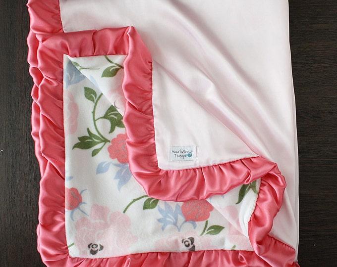 Minky Blanket, custom baby blanket, baby girl, baby gift, floral, flowers, crib bedding, ruffle blanket, satin blanket, silk blanket