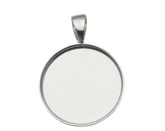 19mm Round Pendant Tray 925 Sterling Silver Circle Bezel Setting for Coin Wholesale Jewelry Findings ID 33827
