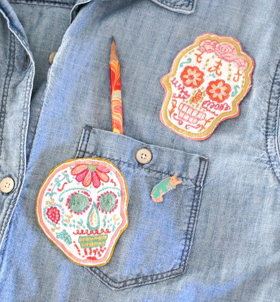 Hand Embroidered Sugar Skull Patch