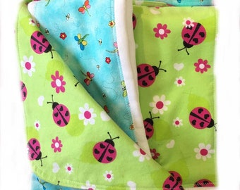 Newborn Gift Set - Forest Friends - Pink Ladybugs Blanket/Burp Cloths - Quiltsy Handmade