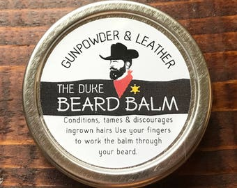 The Duke Handmade Beard Balm Conditioner Tamer 1 oz Tin Gunpowder & Leather