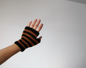 PERSIMMION and COAL glovelets - orange and black striped hand knit fingerless gloves in soft merino wool - clearance colors
