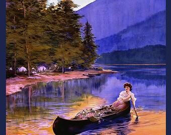 Lake Winnipesaukee New Hampshire Lady Canoe Usa American Travel Tourism Vintage Poster Repro FREE SHIPPING in USA