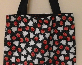 Ghost and Pumpkin Reversible Trick or Treat Bag