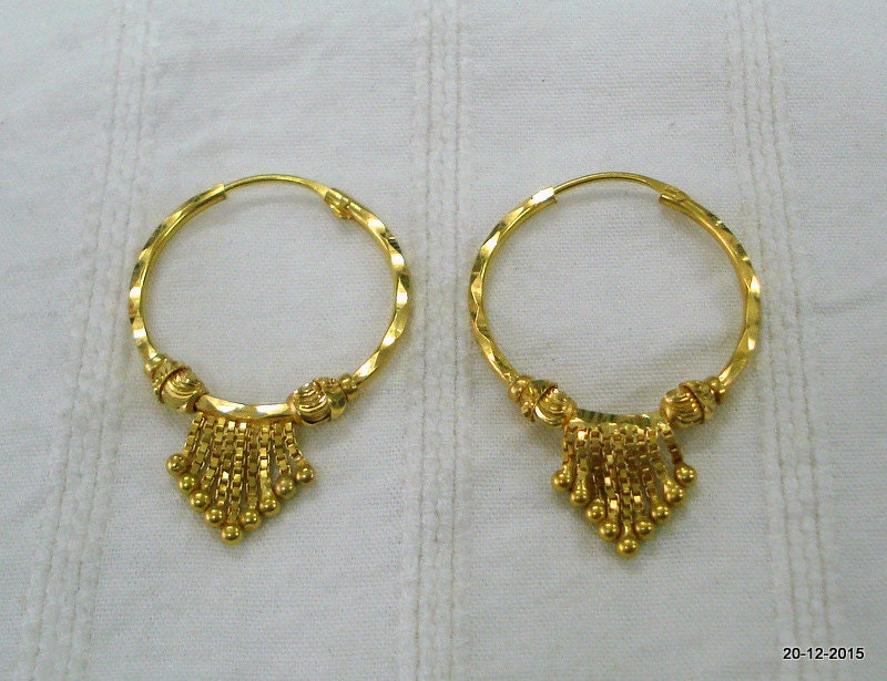 traditional design 18kt gold earrings hoop earrings gold