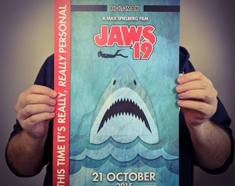 Jaws 19 Movie Poster Art // Max Spielberg Back to the Future 2 Print // Original Wall Decoration Design