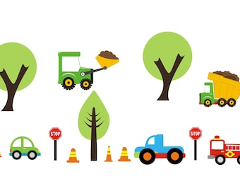 Wall Decals Nursery - Bulldozer - Truck - Fire Engine - Trees - Dumptruck - Stop SIgn - Traffic Cones - Transportation Vehicles - Stickers