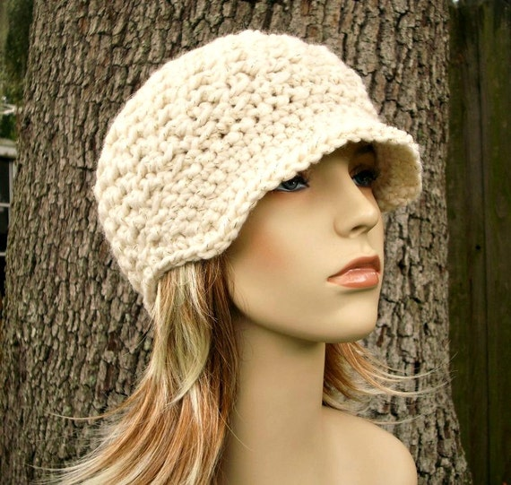 Crochet Hat Cream Womens Hat Cream Newsboy Hat - Jockey Cap Starlight Cream and Gold - Crochet Newsboy Hat Crochet Hat - Womens Accessories
