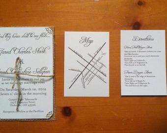 Ivory Wedding Invitation, White Wedding invitation, Script Wedding Invitation, Black and White Wedding Invitation