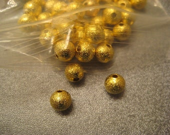 Gold Tone Stardust Ball Round Spacer Beads 8mm 120pcs