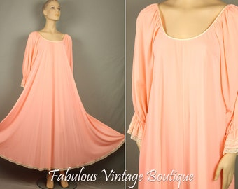Vintage CLAIRE SANDRA Lucie Ann Beverly Hills Lingerie Long Sweeping Nightgown S