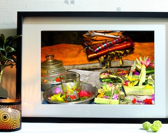 Photograph of a gift at a temple in Bali quotidiennt