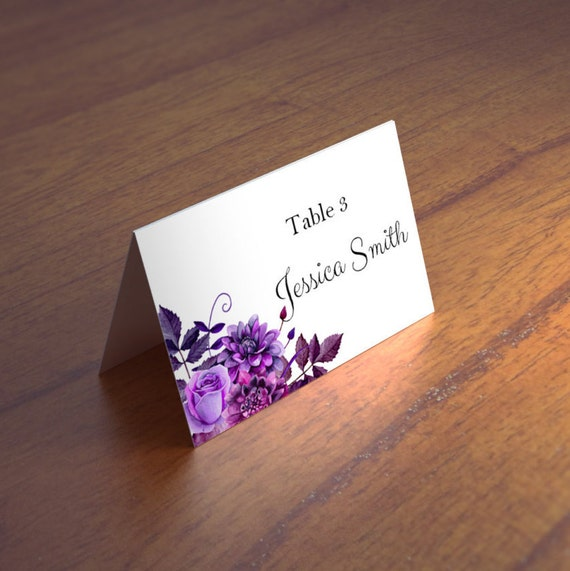 purple wedding name cards templates boho wedding place cards