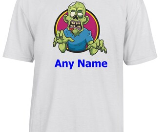 Personalised ZOMBIE T Shirt  *Choice of name colours*