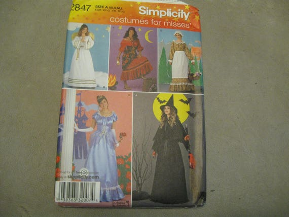 Simplicity Pattern Costume 2847 Miss Size XS-L Angel Costume