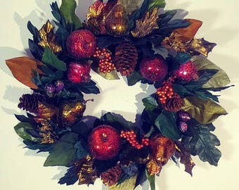 """17"""" Sugar Beaded Fruit Grapevine Wreath Harvest All Year Round Woodsy Wall Window Hanging Sugared Decoration Dining Room Candle Ring Display"""