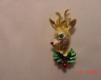 Vintage Christmas Rudolph The Red Nosed Reindeer Brooch  17 - 1131