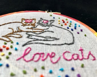 Love Cats - embroidered hoop art