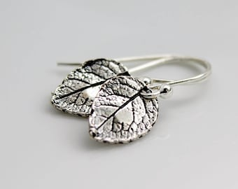 Leaf Earrings, Sterling Silver Earrings, Small Leaf Earrings, Tiny Earrings, Nature Jewelry, Autumn Leaf Earrings, Leaves Earrings, Simple