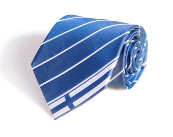Finland Tie - Inspired by the Finnish Flag with Personalized Tag. 100% Woven Silk. Finnish Tie. Finland Necktie.