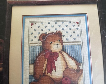 Leisure Arts Cross Stitch leaflet TEDDY &APPLES  vintage 1989 chart