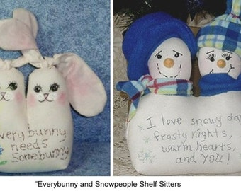 Instant pdf Download Everybunny and Snowpeople Shelf Sitters Cloth Doll Pattern for sewing