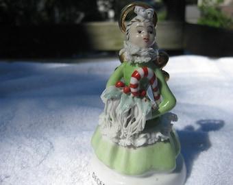 Vintage DECEMBER Birthday NAPCO Angel Figurine S112 Spaghetti Trim Candy Cane Holly Japan 1950s Lefton Artmark