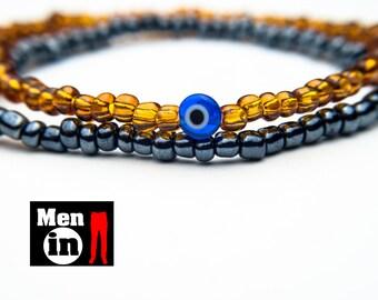 Men Protection Bracelet, Men Evil Eye Bracelet, Men Thin Bracelet, Evil Eye Jewelry, Men Bracelet, Men Double Bracelet, Men Simple Bracelet