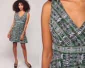 90s Babydoll Dress Grunge Mini TRIBAL Print Bohemian 1990s Vintage Boho Empire Waist Sleeveless Green Wrap V Neck Medium Large