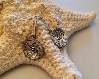 PMC Small Appliquéd Spoon Earrings - Fine Silver Dangles - Silver Spoon Earrings