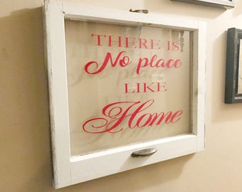 ON SALE Housewarming gift - home sign - there's no place like home - wood window - rustic picture frame - newlywed gift - wedding gift pictu